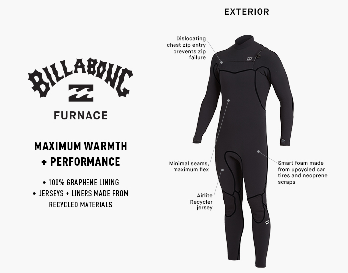 BILLABONG Combinaison n/éopr/ène Mens Furnace Absolute 4//3mm Chest Zip Blue Indigo Thermal Warm Heat Layer Layers Furnace Lining